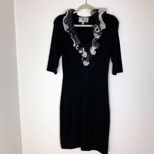 Yoana Baraschi Black Knit Dress with Silk Neckline
